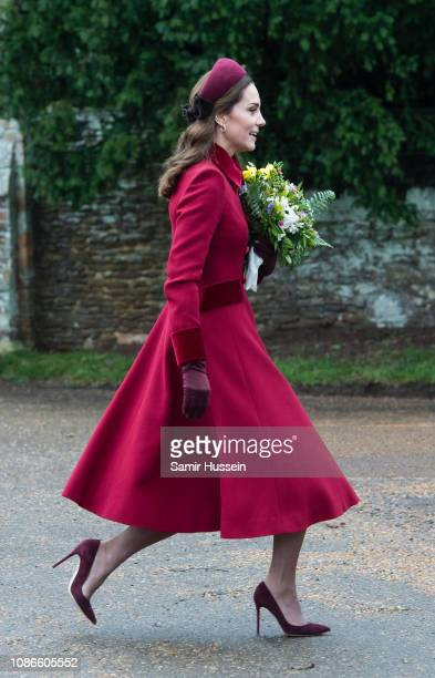 Catherine Duchess of Cambridge attends Christmas Day Church service at Church of St Mary Magdalene on the Sandringham estate on December 25 2018 in...