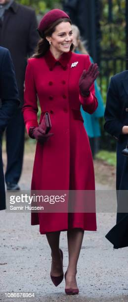 Catherine, Duchess of Cambridge attends Christmas Day Church service at Church of St Mary Magdalene on the Sandringham estate on December 25, 2018 in...