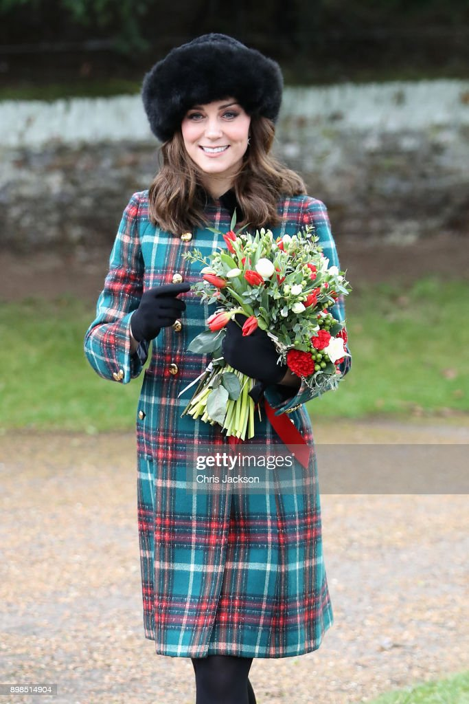 Catherine; Duchess of Cambridge attends Christmas Day Church service at Church of St Mary Magdalene on December 25, 2017 in King's Lynn, England.