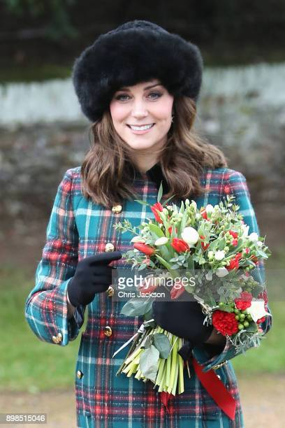 Catherine Duchess of Cambridge attends Christmas Day Church service at Church of St Mary Magdalene on December 25 2017 in King's Lynn England