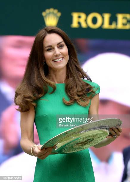 Catherine, Duchess of Cambridge attends day 12 of the Wimbledon Tennis Championships at the All England Lawn Tennis and Croquet Club on July 10, 2021...