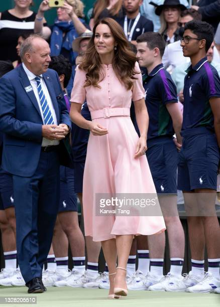 Catherine, Duchess of Cambridge attends day 13 of the Wimbledon Tennis Championships at All England Lawn Tennis and Croquet Club on July 11, 2021 in...