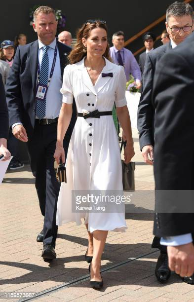 Catherine Duchess of Cambridge attends day 2 of the Wimbledon Tennis Championships at the All England Lawn Tennis and Croquet Club on July 02 2019 in...
