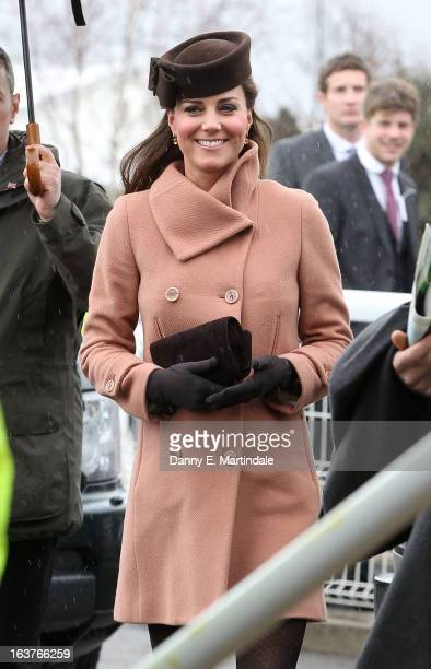 Catherine Duchess of Cambridge attends day 4 of the Cheltenham Festival at Cheltenham Racecourse on March 15 2013 in Cheltenham England