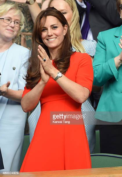 Catherine, Duchess of Cambridge attends day nine of the Wimbledon Tennis Championships at Wimbledon on July 8, 2015 in London, England.