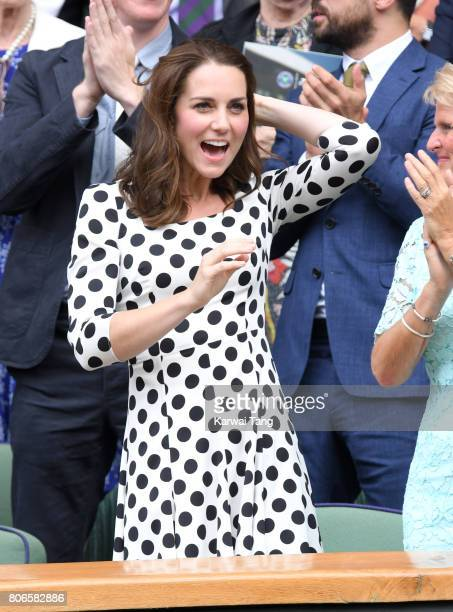 Catherine Duchess of Cambridge attends day one of the Wimbledon Tennis Championships at Wimbledon on July 3 2017 in London United Kingdom