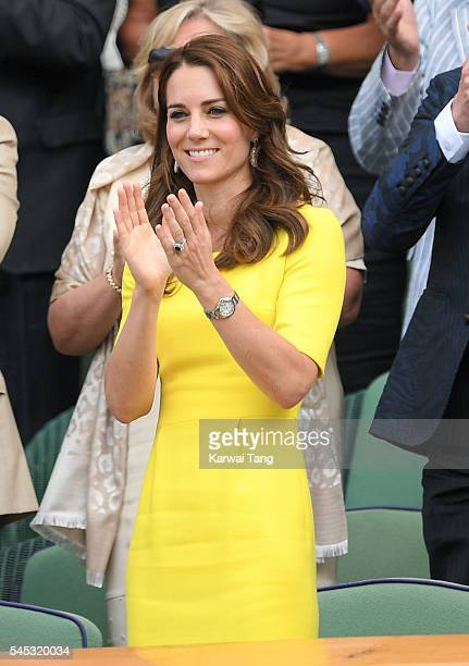 Catherine Duchess of Cambridge attends day ten of the Wimbledon Tennis Championships at Wimbledon on July 07 2016 in London England