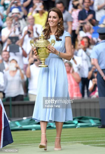 Catherine Duchess of Cambridge attends day thirteen of the Wimbledon Tennis Championships at All England Lawn Tennis and Croquet Club on July 14 2019...