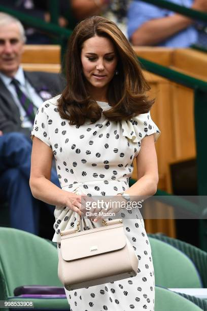 Catherine Duchess of Cambridge attends day twelve of the Wimbledon Lawn Tennis Championships at All England Lawn Tennis and Croquet Club on July 14...