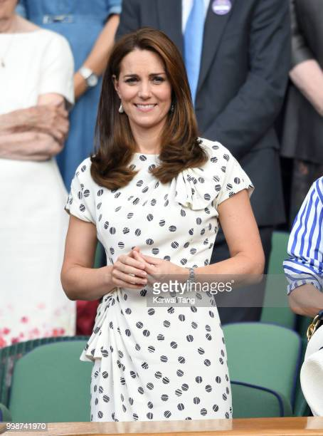 Catherine Duchess of Cambridge attends day twelve of the Wimbledon Tennis Championships at the All England Lawn Tennis and Croquet Club on July 14...