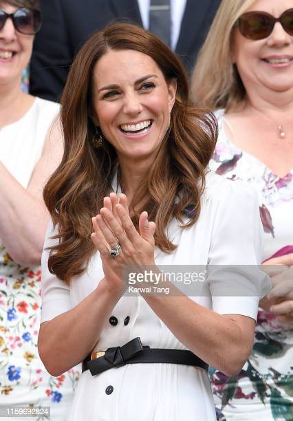 Catherine Duchess of Cambridge attends day two of the Wimbledon Tennis Championships at All England Lawn Tennis and Croquet Club on July 02 2019 in...