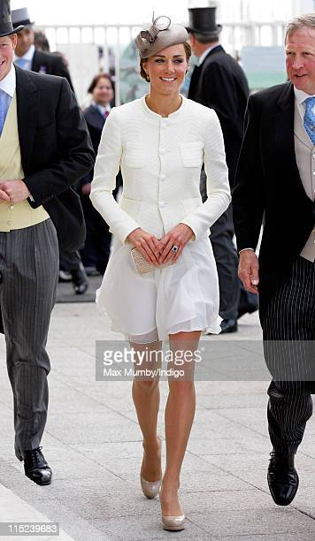 Catherine Duchess of Cambridge attends Derby Day at the Investec Derby Festival at Epsom racecourse on June 4 2011 in Epsom England