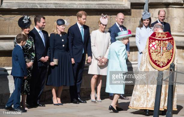 Catherine Duchess of Cambridge attends Easter Sunday service at St George's Chapel on April 21 2019 in Windsor England