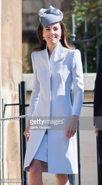 Catherine, Duchess of Cambridge attends Easter Sunday service at St George's Chapel on April 21, 2019 in Windsor, England.