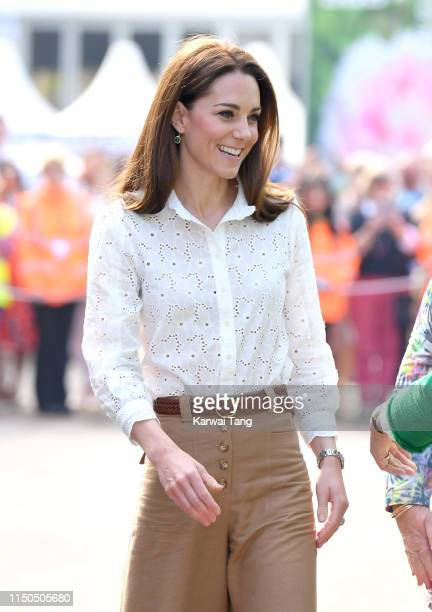 Catherine, Duchess of Cambridge attends her Back to Nature Garden at the RHS Chelsea Flower Show 2019 press day at Chelsea Flower Show on May 20,...