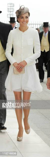 Catherine, Duchess of Cambridge attends Investec Derby Day at the Investec Derby Festival at Epsom Downs Racecourse on June 4, 2011 in Epsom, England.