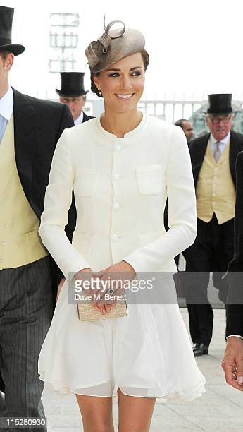 Catherine Duchess of Cambridge attends Investec Derby Day at the Investec Derby Festival at Epsom Downs Racecourse on June 4 2011 in Epsom England