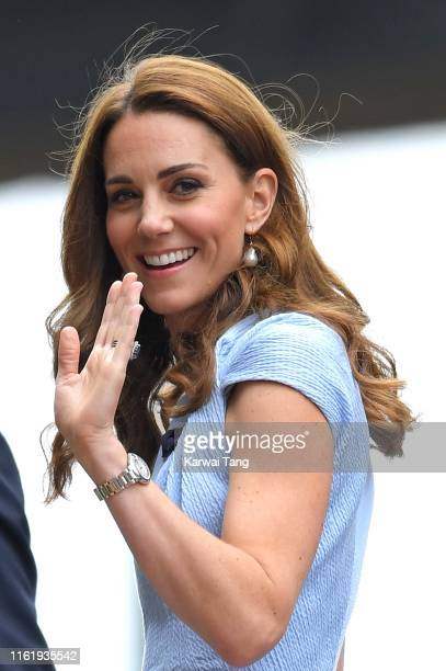 Catherine Duchess of Cambridge attends Men's Finals Day of the Wimbledon Tennis Championships at All England Lawn Tennis and Croquet Club on July 14...