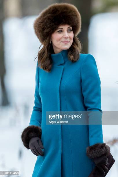 Catherine Duchess of Cambridge attends Princess Ingrid Alexandra sculpture park in the Palace park on February 1 2018 in Oslo Norway