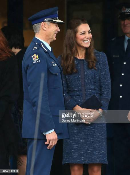 Catherine Duchess of Cambridge attends Royal New Zealand Police College in Aotea Porirua City on April 16 2014 in Wellington New Zealand The Duke and...