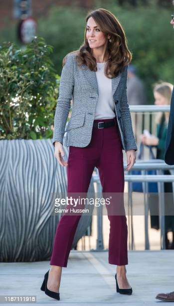 Catherine, Duchess of Cambridge attends Shout's Crisis Volunteer celebration event at Troubadour White City Theatre on November 12, 2019 in London,...