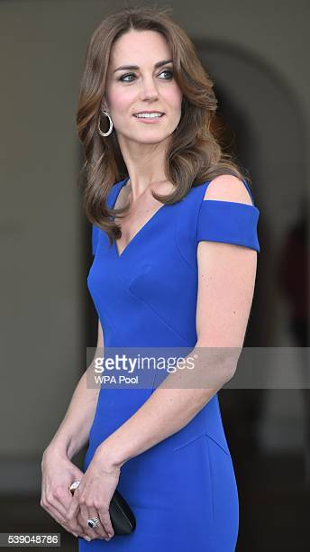 Catherine Duchess of Cambridge attends SportsAid's 40th anniversary dinner at Kensington Palace on June 9 2016 in London England On arrival The...