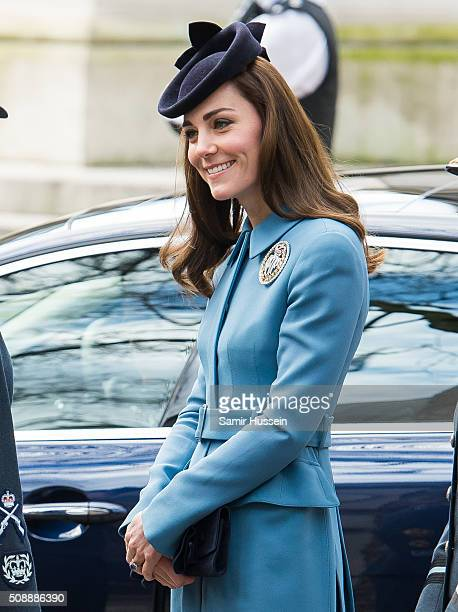 Catherine, Duchess of Cambridge attends St Clement Danes Church for a service to mark the 75th Anniversary of the RAF Air Cadets on February 7, 2016...