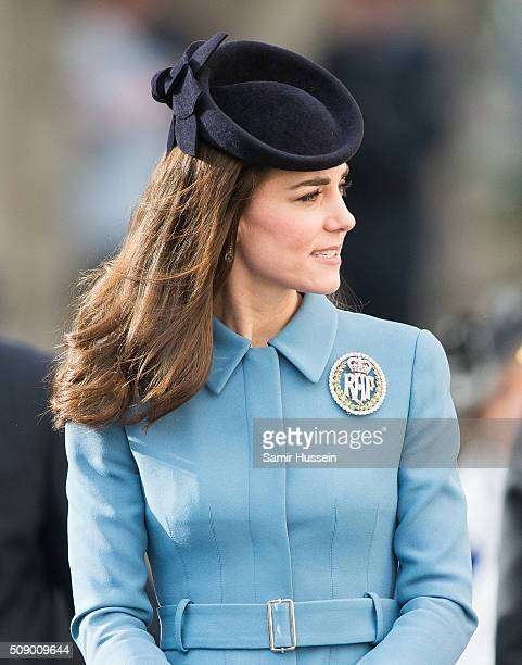 Catherine Duchess of Cambridge attends St Clement Danes Church for a service to mark the 75th Anniversary of the RAF Air Cadets on February 7 2016 in...