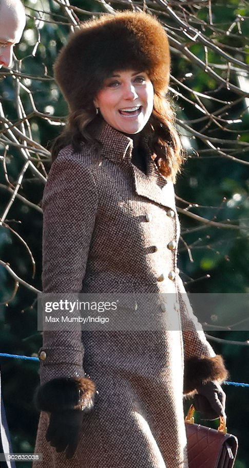 Catherine, Duchess of Cambridge attends Sunday service at St Mary Magdalene Church, Sandringham on January 7, 2018 in King's Lynn, England.