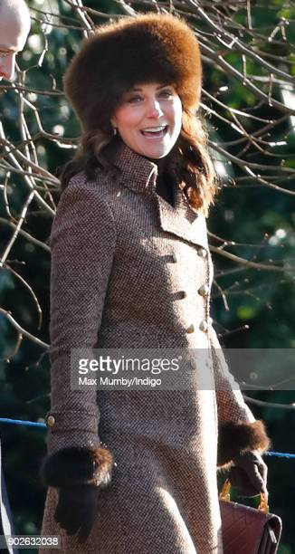 Catherine Duchess of Cambridge attends Sunday service at St Mary Magdalene Church Sandringham on January 7 2018 in King's Lynn England