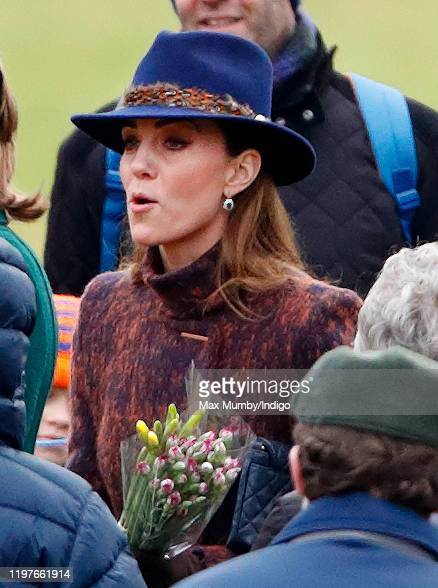 Catherine Duchess of Cambridge attends Sunday service at the Church of St Mary Magdalene on the Sandringham estate on January 5 2020 in King's Lynn...