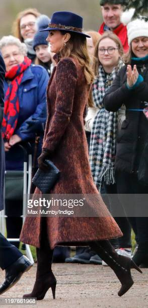 Catherine, Duchess of Cambridge attends Sunday service at the Church of St Mary Magdalene on the Sandringham estate on January 5, 2020 in King's...