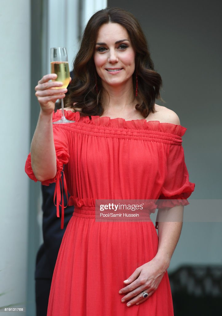 Catherine, Duchess of Cambridge attends takes part in a toast The Queen's Birthday Party at the British Ambassadorial Residenceduring an official visit to Poland and Germany on July 19, 2017 in Berlin, Germany.