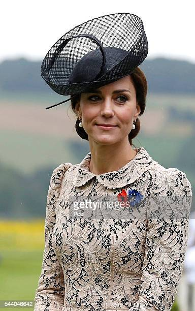 Catherine, Duchess of Cambridge attends the 100th anniversary of the beginning of the Battle of the Somme at the Thiepval memorial to the Missing on...