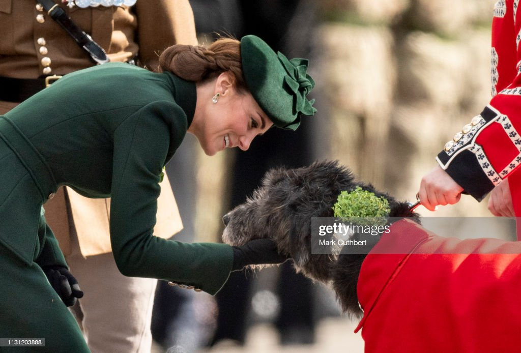 GBR: The Duke And Duchess Of Cambridge Attend The Irish Guards St Patrick's Day Parade