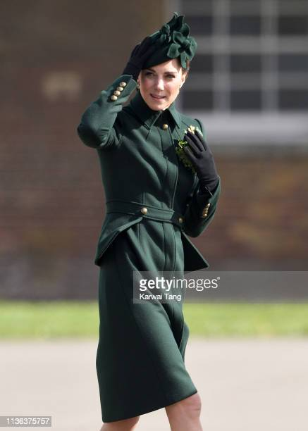 Catherine, Duchess of Cambridge attends the 1st Battalion Irish Guards St Patrick's Day Parade at Cavalry Barracks on March 17, 2019 in Hounslow,...