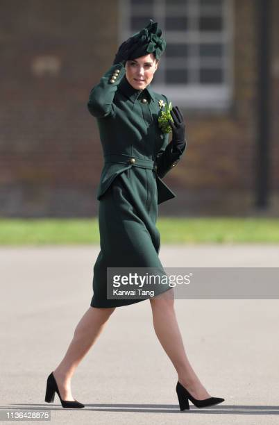 Catherine Duchess of Cambridge attends the 1st Battalion Irish Guards St Patrick's Day Parade at Cavalry Barracks on March 17 2019 in Hounslow England