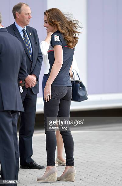 Catherine Duchess of Cambridge attends the America's Cup World Series at BAR HQ on July 24 2016 in Portsmouth England