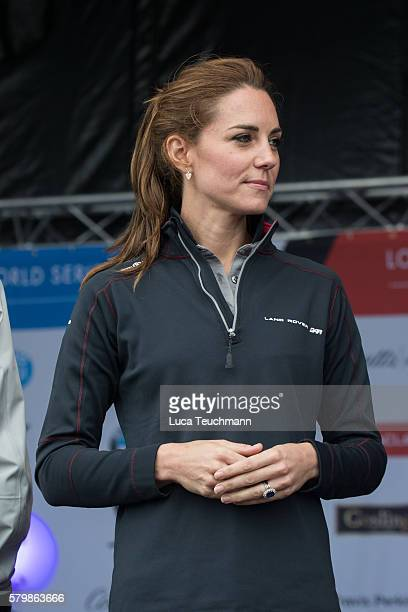 Catherine Duchess of Cambridge attends the America's Cup World Series at the Race Village on July 24 2016 in Portsmouth England