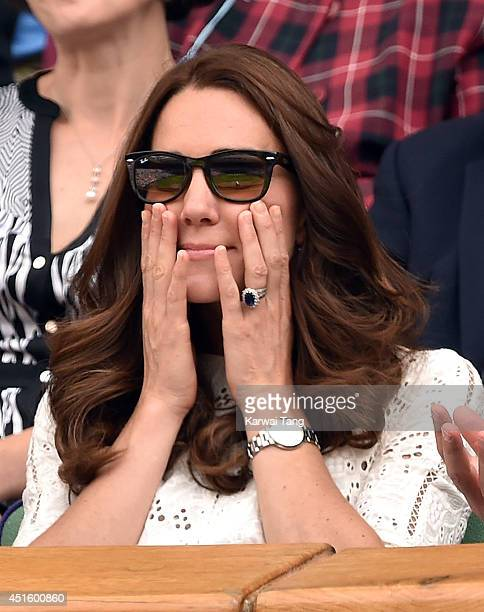 Catherine Duchess of Cambridge attends the Andy Murray v Grigor Dimitrov match on centre court during day nine of the Wimbledon Championships at...