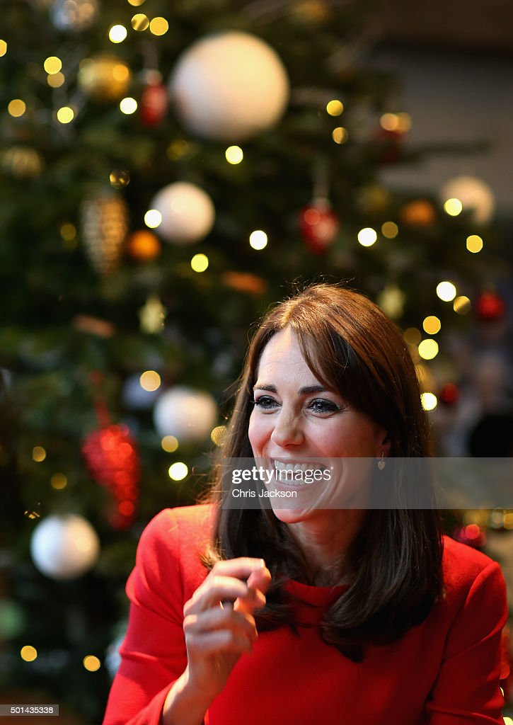 Catherine, Duchess of Cambridge attends the Anna Freud Centre Family School Christmas Party at Anna Freud Centre on December 15, 2015 in London, England. The Duchess joined groups of families in Festive activities designed to help pupils reflect on the positive progress in their social relationships and communication skills.