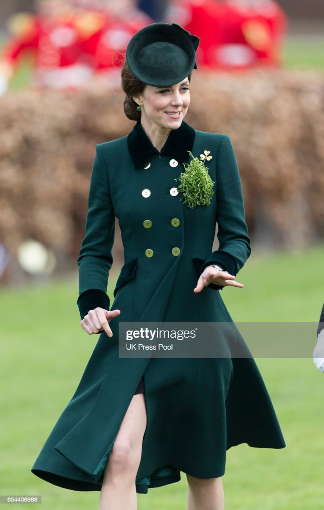 Catherine, Duchess of Cambridge attends the annual Irish Guards St Patrick's Day Parade at Household Cavalry Barracks on March 17, 2017 in London, England.