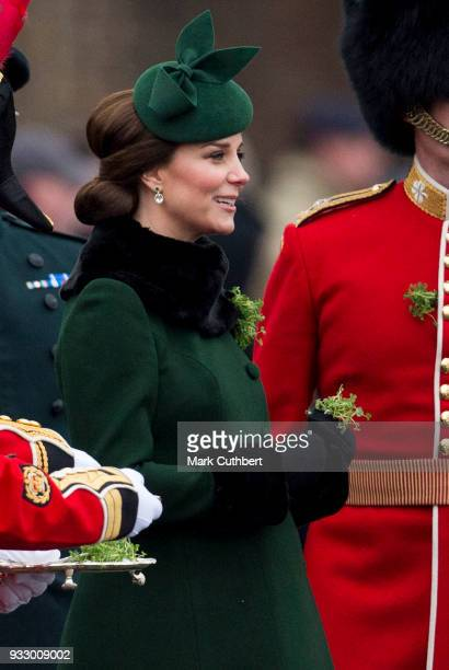 Catherine Duchess of Cambridge attends the annual Irish Guards St Patrick's Day Parade at Cavalry Barracks on March 17 2018 in Hounslow England