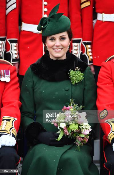 Catherine, Duchess of Cambridge attends the annual Irish Guards St Patrick's Day Parade at Cavalry Barracks on March 17, 2018 in Hounslow, England.