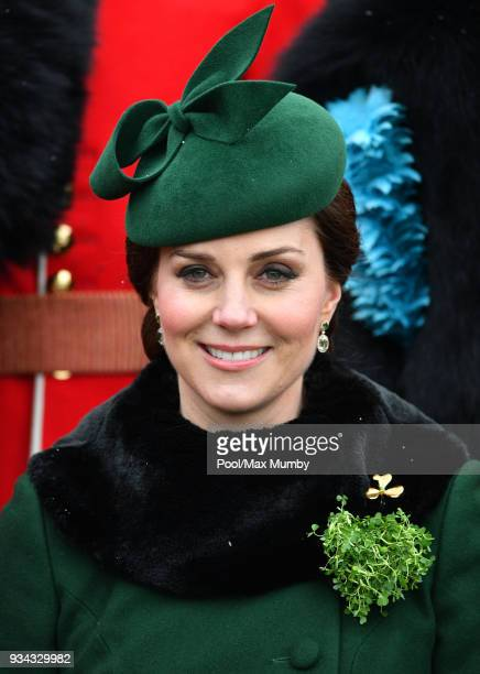 Catherine, Duchess of Cambridge attends the annual Irish Guards St Patrick's Day Parade at Cavalry Barracks on March 17, 2018 in Hounslow, England....