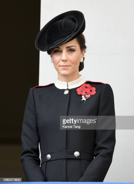 Catherine Duchess of Cambridge attends the annual Remembrance Sunday memorial at The Cenotaph on November 11 2018 in London England The Armistice...