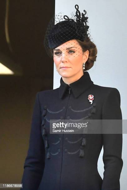 Catherine Duchess of Cambridge attends the annual Remembrance Sunday memorial at The Cenotaph on November 10 2019 in London England