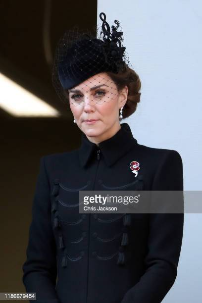 Catherine Duchess of Cambridge attends the annual Remembrance Sunday memorial at The Cenotaph on November 10 2019 in London England The armistice...