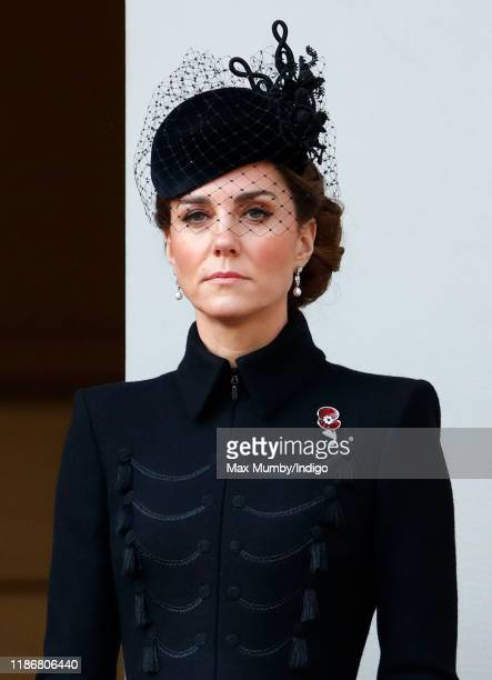 Catherine Duchess of Cambridge attends the annual Remembrance Sunday service at The Cenotaph on November 10 2019 in London England The armistice...