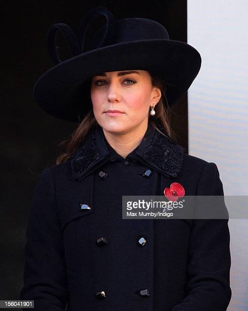 Catherine Duchess of Cambridge attends the annual Remembrance Sunday Service at the Cenotaph Whitehall on November 11 2012 in London England...